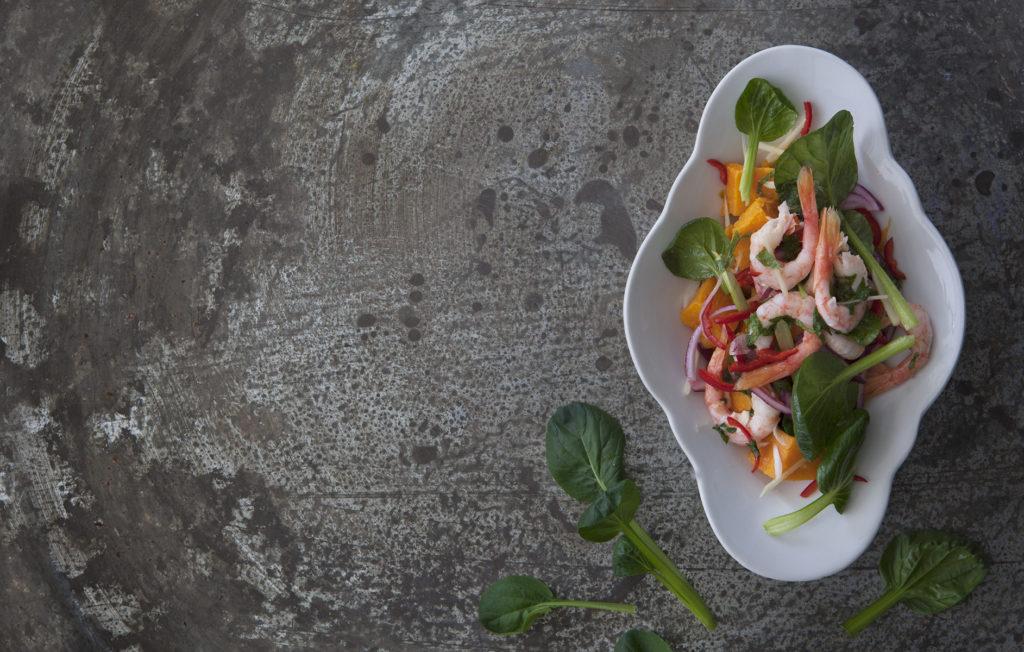 Ceviche på räkor, Tatsoi och sötpotatis