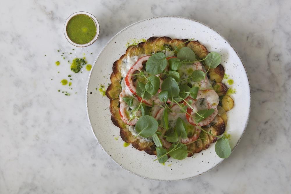 Potatispizza med Krasse och Vitlöksgräsolja