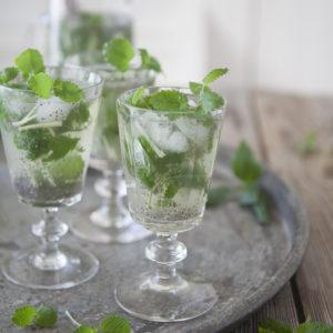 Sval grön ört-chiadryck med ingefära