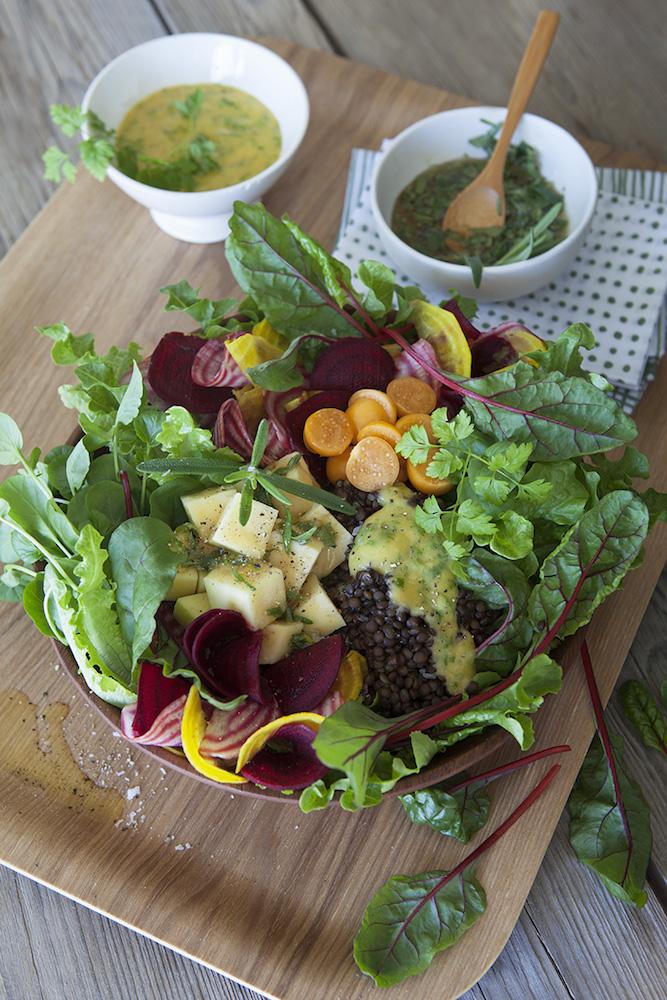 Puylinssallad med Mangold, Krasse och senapsdressing