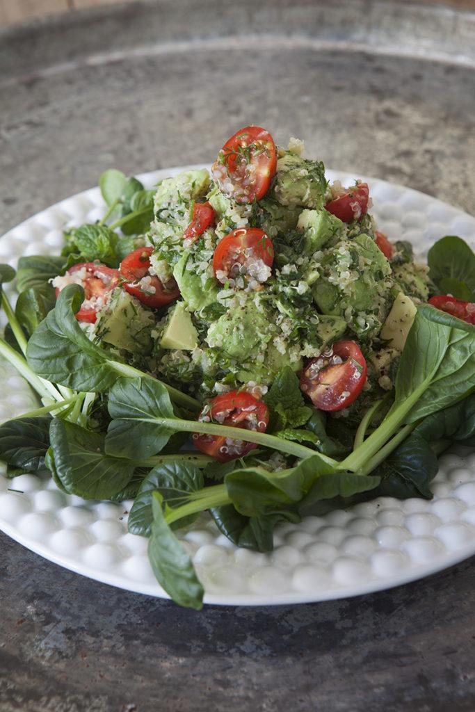 Tatsoisallad med avokado- och quinoaröra