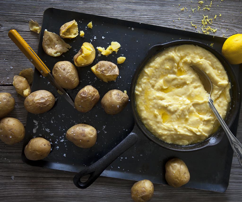 Crème på rostad Delikatesspotatis med brynt smör och citron