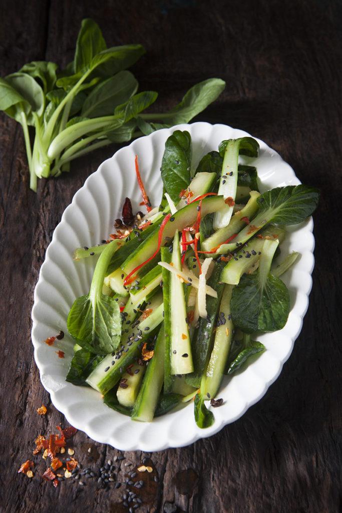 Picklad Tatsoi med gurka