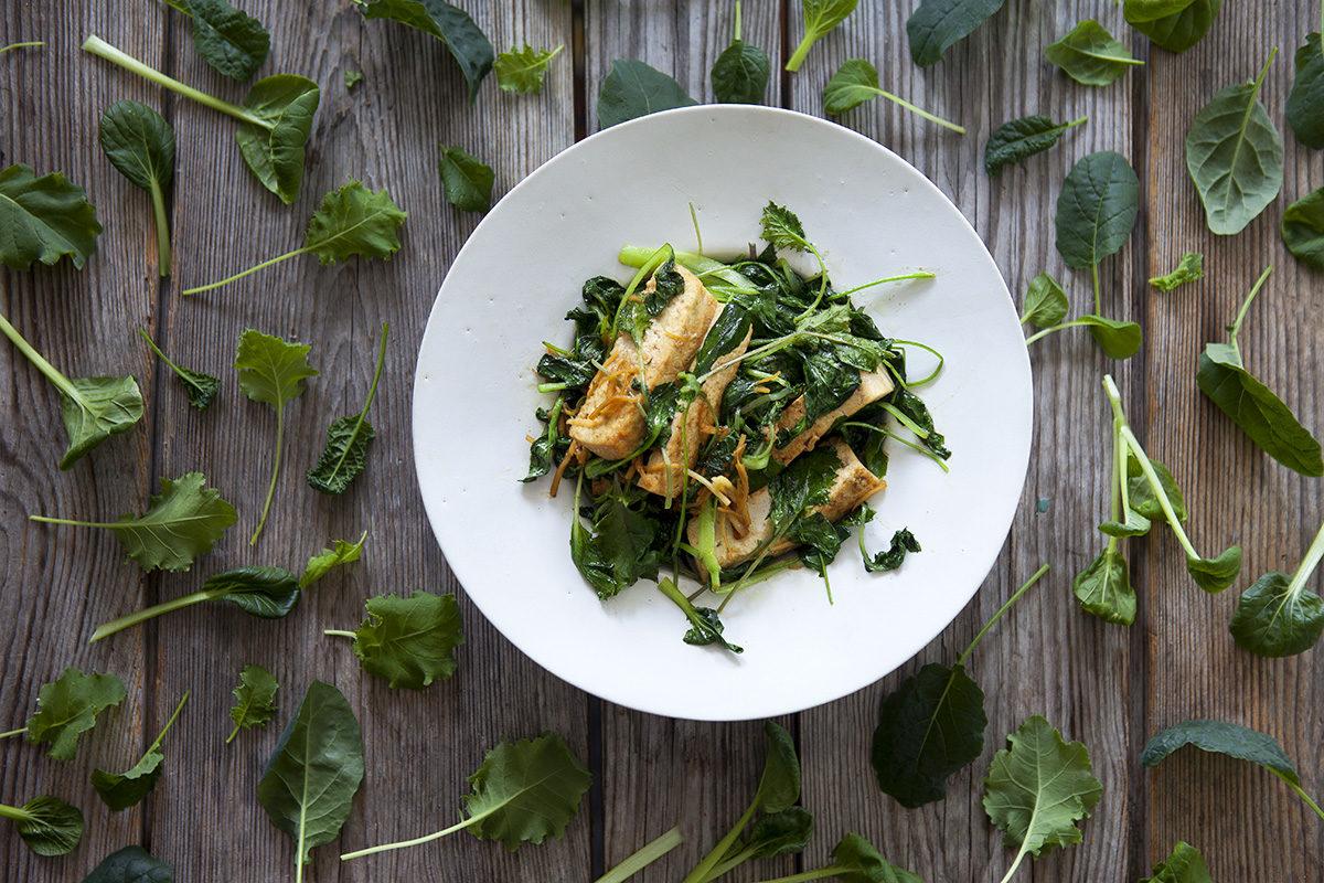 Wokad Tatsoi, Grönkål och Svartkål med tofu